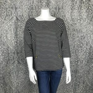 Chico's Striped Square Neckline 3/4 Sleeve Top 1